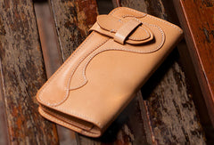 Handmade beige leather men biker wallet Long wallet with multi cards clutch for men