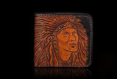 Handmade men short wallet black coffee leather Indian carved short wallet for men