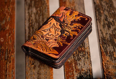 Handmade black coffee brown leather prajna carved biker wallet short wallet for men