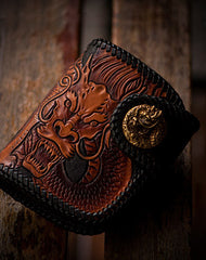 Handmade biker wallet chinese dragon brown black leather carved trucker wallet chain for men