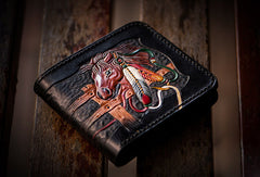 Handmade men billfold wallet black coffee leather horse carved billfold wallet for men