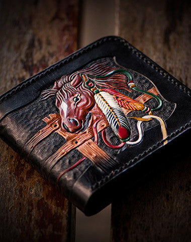 Handmade men short wallet black coffee leather horse carved short wallet for men