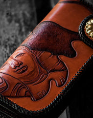 Handmade leather biker chain wallet Tooled Buddha wallet for men