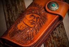 Handmade brown coffee leather indian carved biker wallet Long wallet clutch for men