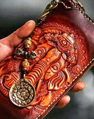 Handmade leather God Geneisha clutch zip long wallet brown leather men Tooled