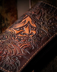 Handmade black brown coffee leather prajna carved biker wallet Long wallet clutch for men