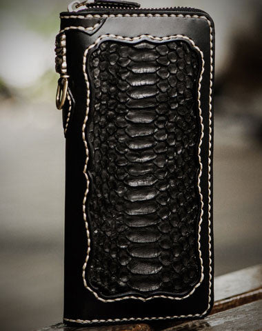 Handmade leather raw python skin biker wallet long wallet black leather men phone