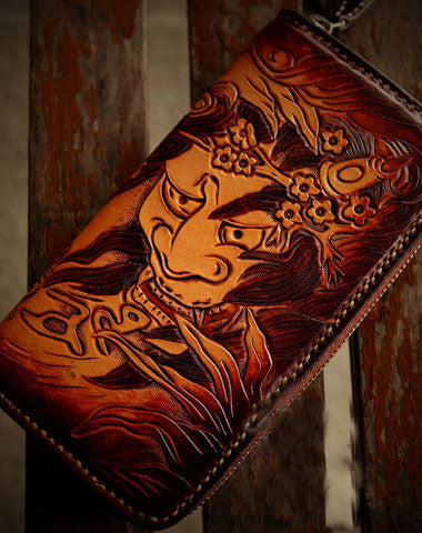 Handmade leather prajnā biker wallet clutch zip long wallet brown leather men phone