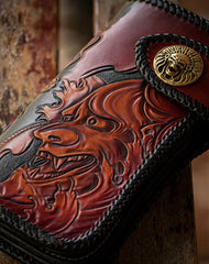 Handmade black brown leather prajna carved biker wallet Long wallet clutch for men