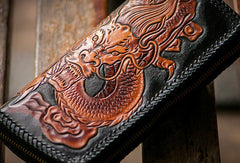 Handmade brown black leather floral Chinese dragon carved biker wallet Long wallet for men