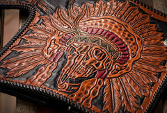 Handmade black leather indian skull carved biker wallet bifold long wallet for men
