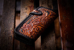 Handmade black brown leather floral tiger carved biker wallet Long wallet clutch for men