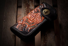 Handmade black leather Prajna Plutus carved biker wallet Long wallet clutch for men