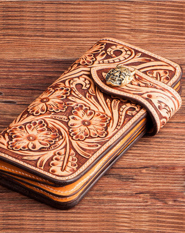 Handmade brown leather floral carved men biker wallet Long wallet clutch for men