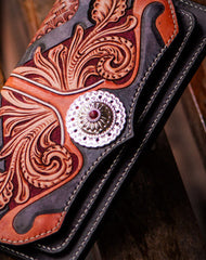 Handmade leather long tooled wallet Black floral men clutch wallet