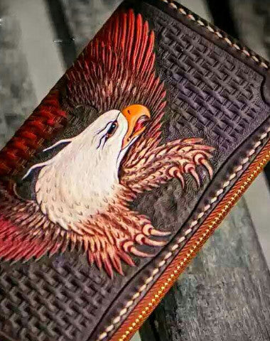 Handmade leather eagle clutch zip long wallet brown leather men Tooled