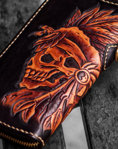 Handmade leather Indian Skull Chief biker wallet clutch zip long wallet brown leather men phone