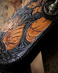 Handmade brown coffee leather Black and white variable carved biker wallet Long wallet for men