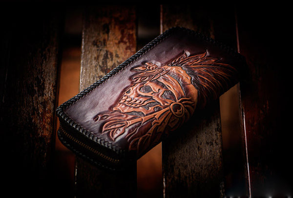 Handmade leather coffee black indian skull carved biker wallet bifold long wallet for men