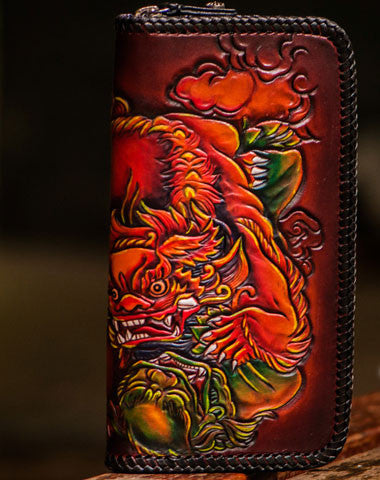 Handmade leather Chinese Lion zip wallet long wallet clutch leather men phone