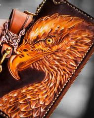 Handmade leather eagle Tooled biker chain wallet long wallet leather men