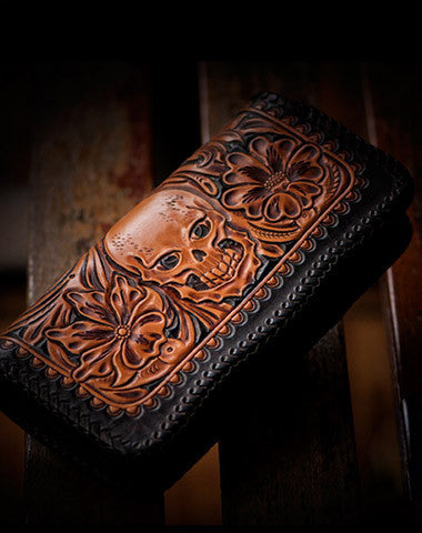 Handmade leather brown black floral skull carved biker wallet bifold long wallet for men