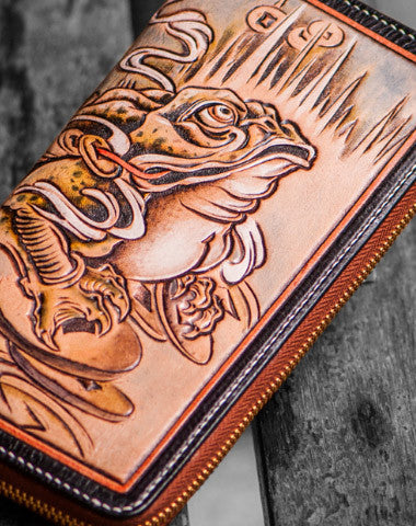 Handmade leather brown toad biker wallet clutch zip long wallet brown leather men Tooled