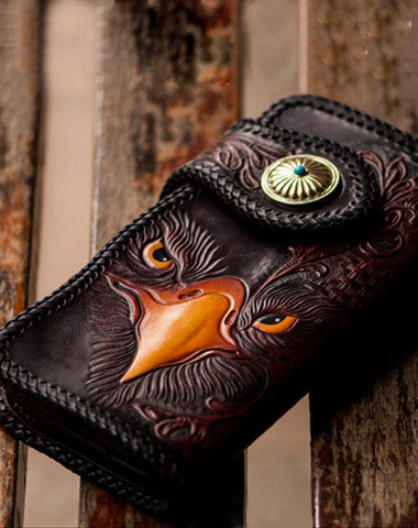 Handmade red brown leather floral eagle carved biker wallet bifold long wallet for men