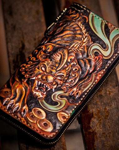 Handmade leather mythical wild animal biker wallet long wallet black leather men phone