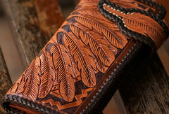 Handmade brown coffee leather indian carved biker wallet bifold long wallet for men