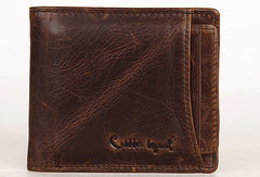 Vintage Bifold Coffee genuine Leather short wallet For Men Zipper photo card holder