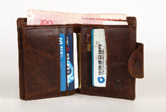 Handmade Men Coffee vintage Leather bifold multi cards short wallet zip for Men