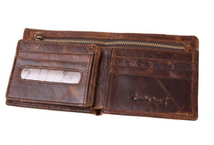 Leather Men short wallet Coffee vintage trifold multi cards short wallet zip for Men