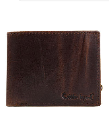 Genuine Leather Vintage Bifold Coffee short wallet For Men W/ photo coin slots