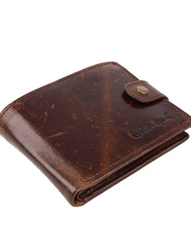 Vintage trifold Coffee genuine Leather billfold wallet For Men Zipper photo card holder