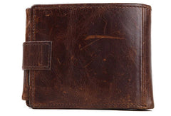 Vintage trifold Coffee genuine Leather short wallet For Men Zipper photo card holder