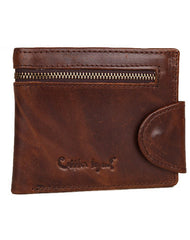 Leather Men short wallet Coffee vintage trifold multi cards short purse zip for Men