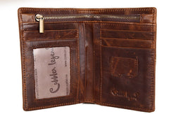 Vintage Bifold Coffee genuine Leather billfold wallet For Men Zipper photo card holder