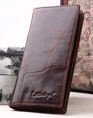 Handmade Vintage Bifold Coffee Men Leather Long wallet clutch purse For Men