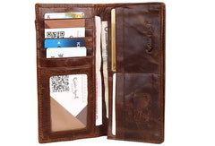 Vintage Mens Leather Long Wallets Cool Leather Bifold Long Wallets for Men