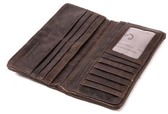 Vintage Mens Leather Long Wallets Cool Leather Bifold Long Wallet for Men