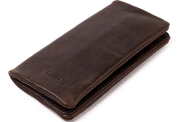 Handmade Vintage Bifold Coffee Leather Long wallet For Men Zipper coin credit card holder