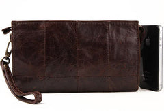 Men Leather clutch Vintage Bifold Coffee Long wallet men leather zip clutch bag