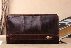 Men Leather clutch Vintage Bifold Black Long wallet men leather zip clutch bag