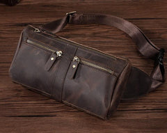 COOL Dark Brown LEATHER MENS FANNY PACK BUMBAG WAIST BAG FOR MEN