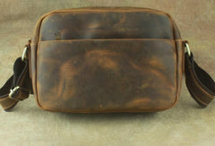 COOL Vintage Brown LEATHER MENS Small Side Bag Messenger Bag for Men