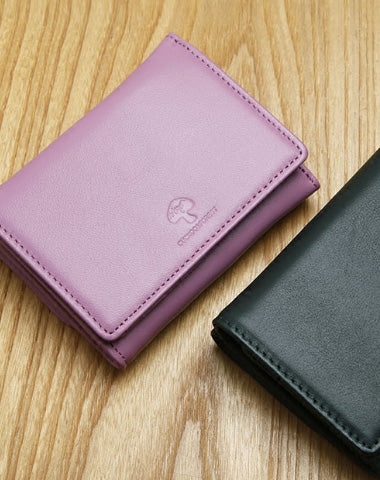 Genuine Leather Cute Slim Short Trifold Wallet Card Holder Wallet Purse For Women Girl