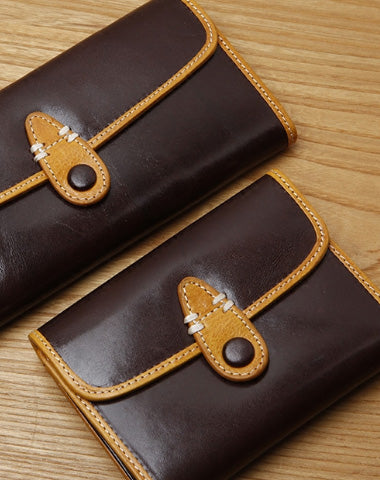 Handamde Leather Cute billfold Long Slim Wallet Bifold Clutch Cards Wallet Purse For Women Girl