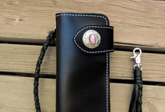 Handmade black men leather biker wallet with chain Long wallet clutch for men