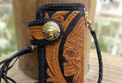 Handmade black yellow leather indian skull carved biker wallet Long wallet clutch for men